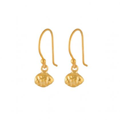 Gold Plated Nugget Oval Earrings